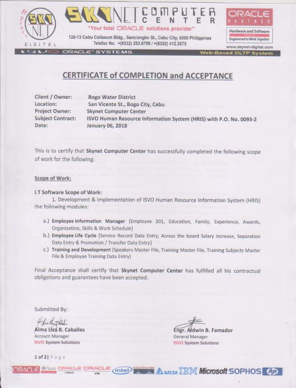 HRIS-A1 System Certificate of Completion and Acceptance