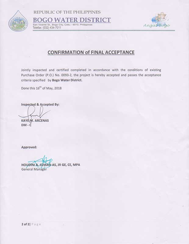 HRIS-A1 System Confirmation of Final Acceptance