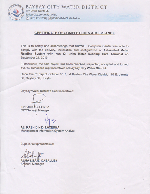 Certificate of Completion & Acceptance