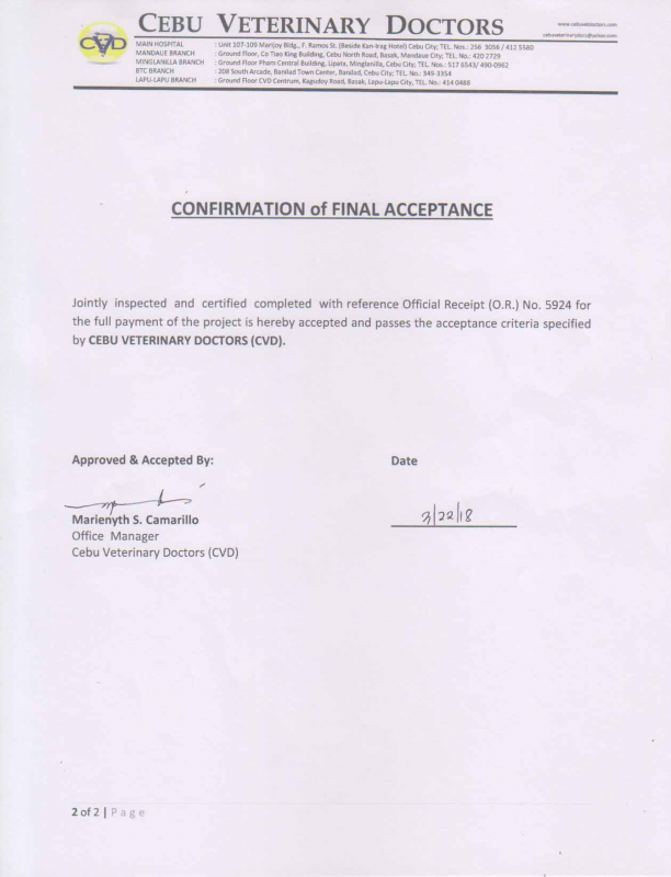 Confirmation of Final Acceptance