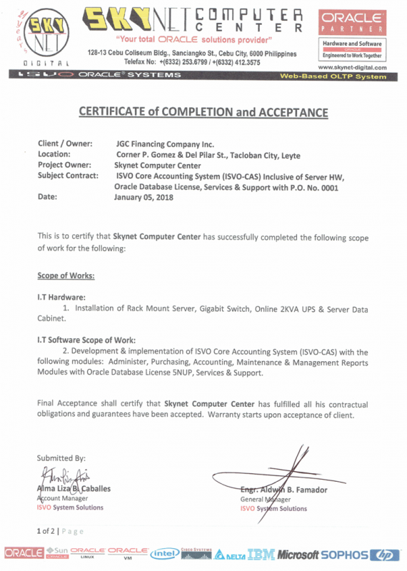 Certificate of Completion and Acceptance