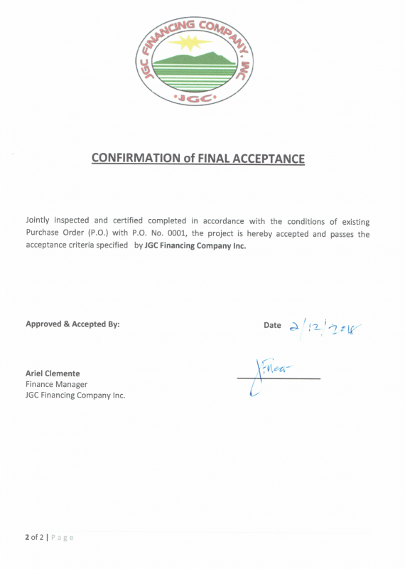 Certificate of Final Acceptance