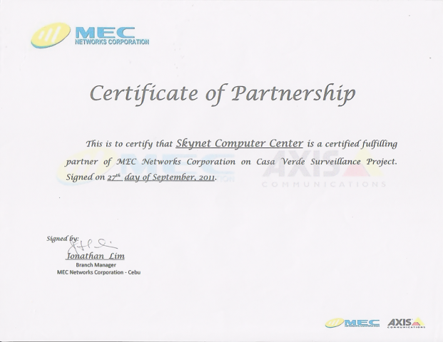 Certificate of Partership