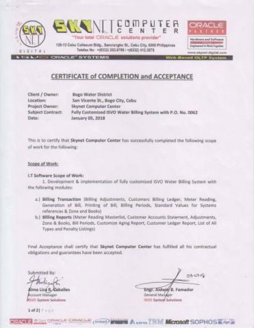 Water Billing System Certificate of Completion and Acceptance