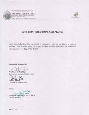 Water Billing System Confirmation of Final Acceptance