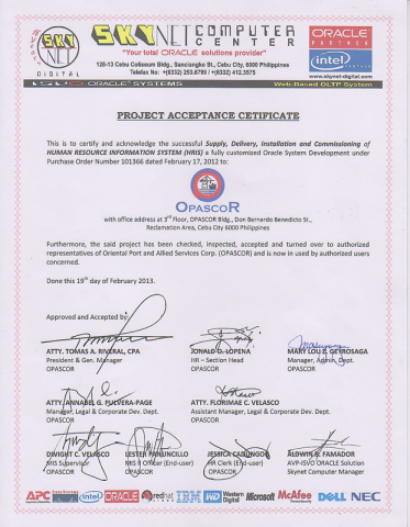 Project Acceptance Certificate