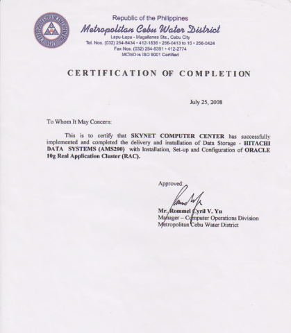 project completion certificate for college students