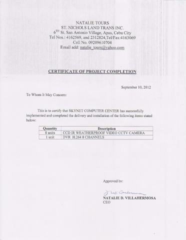 Certificate of Project Completion